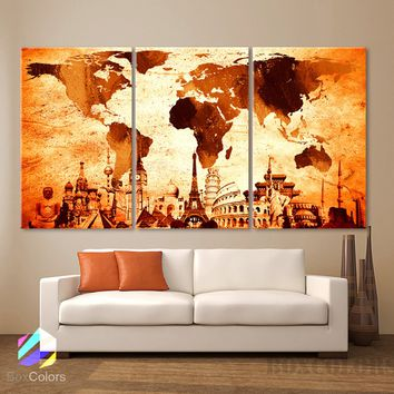 "LARGE 30""x 60"" 3 Panels 30""x20"" Ea Art Canvas Print Original Wonders of the world Map Old Vintage Wall decor Home interior"