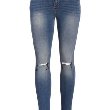 Lake Blue Distressed Mid Rise Skinny Fit Jeans
