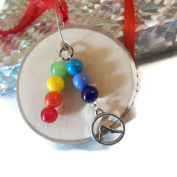 Oil Diffuser Ornament -Wood Christmas Ornament - Chakra Yoga Pose Ornament -Aromatherapy Beaded Charm Diffuser -Essential Oil Mirror Charm
