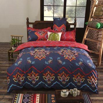 Cool 2017 New Bohemian Style Bedding set Floral Printed Bed Cotton Twin Queen King Size 4pcs Duvet Cover Flat Sheet Pillow caseAT_93_12
