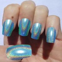 Nail Art Holographic Blue Color Shift by NailKandy on Etsy