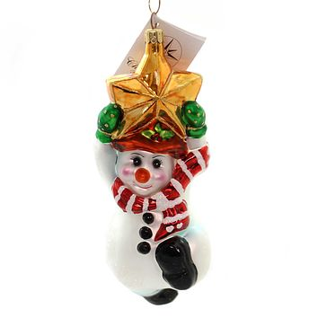 Christopher Radko SWINGING ON A STAR Glass Snowman Christmas 990330