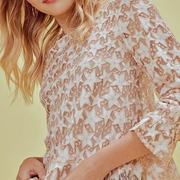 Embroidered And Lace Star Peplum Top