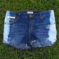 OOAK Custom dipped, laced & studded tumblr inspired jean shorts