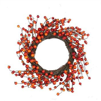 "14"" Autumn Harvest Decorative Artificial Orange and Red Berry Wreath - Unlit"