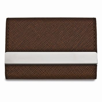Brown Faux Leather Two-sided Business Card Case