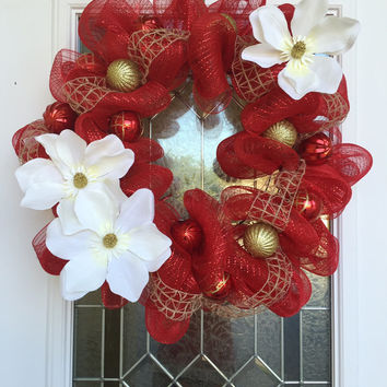 Red Gold Christmas Wreath - Floral Christmas Wreath - Deco Mesh Decor - Holiday Home Decoration - Christmas Decoration - Deco Mesh Wreaths