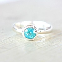 Apatite Ring Sterling Silver Ring Size 5US