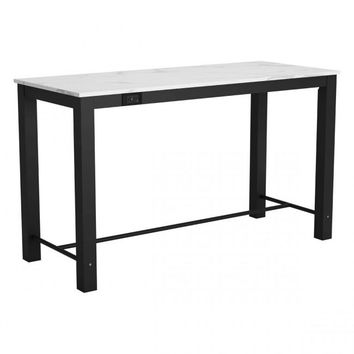 Zuo Modern Dawson 100974 Bar Table Faux Marble & Matt Black