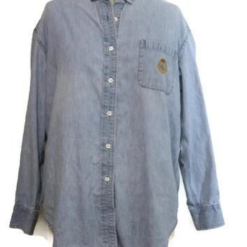 Ralph Lauren Womens Long Sleeve Shirt / Denim Long Sleeve Shirt Vintage / RL Crest M M