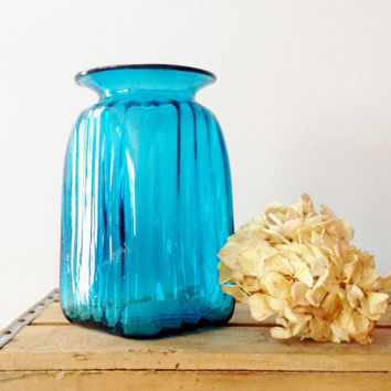 Blue Blown Glass Vase - Nautical Blue - Home Decor