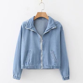 Women Hooded Short Denim Jacket Basic Coat Spring Autumn Loose Zipper Long-sleeve Pockets Female jeans jacket Casual Outerwear