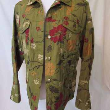 Chico's Jean Style Jacket Women's Chico's size 1 (regular size M) Green Floral