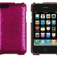 Hot Pink Sparkles Case for Apple iPod Touch 2G / 3G (2nd & 3rd Generation) - Includes 24/7 Cases Microfiber Cleaning Cloth [Retail Packaging by DandyCase]