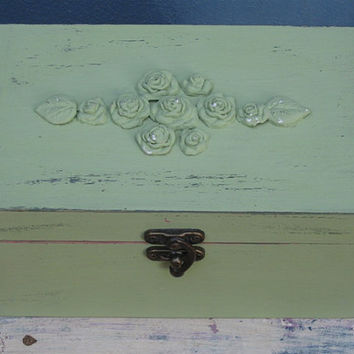 Green Shabby Chic Wooden Jewelry Box