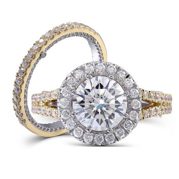 14K 585 Two Tones Gold 2ct Center 8mm F Color Round Brilliant Lab Grown Moissanite Diamond Engagement Ring Set For Women