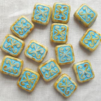 Five Czech glass, 12 x 11mm off white, beige & turquoise, rectangular carved picasso one hole beads, C0601