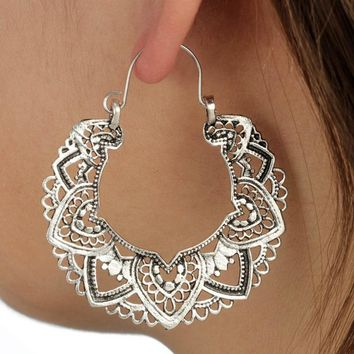 11 Styles Indian Tribal Brass Earring Dangle Drop Earring Flower Lotus Ornate Swirl Gypsy Earring For Women Boho Vintage Earring