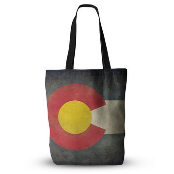 "Bruce Stanfield ""State Flag of Colorado"" Black Red Everything Tote Bag"