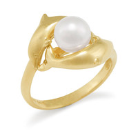 14K White Pearl Dolphin Ring: Wyland Store