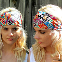 Yoga Aztec Heaband, Aztec MultiColor Stretchy Cotton Jersey Wide Headband Women's Workout Headband, Native Ethnic band