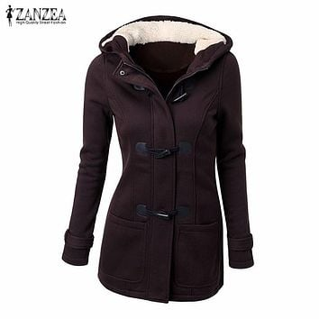 ZANZEA Women  Winter Thick Fleece Hoodies Sweatshirts Zipper Long Sleeve Hooded Jacket Coats Casual Slim Overcoats Outwear