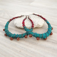 Silk Road Gypsy Hoop Earrings, Large, Eclectic, Copper, Turquoise and Berry, Silk Wrapped