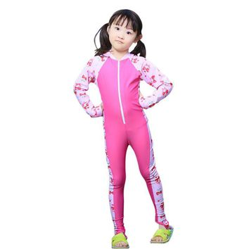 Toddler Girls Wet suits Child Long Sleeves One Piece Swimsuit Kids Swimwear Bathing Suits