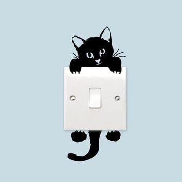DIY Funny Cute Cat Switch Sticker 3D Wall Stickers Home Decoration Bedroom Parlor Decor Living Room Kids Vinyl Wall Decal Mural