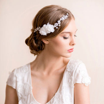 Bridal Floral Headpiece with Pearls - Bridal Hair Jewelry - Wedding Headpiece - Bridal Hair Accessory - Silver or Gold