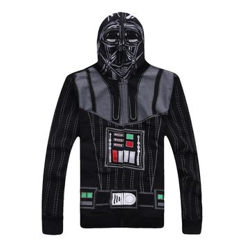 Star Wars Darth Vader Cosplay Costume Men's Winter Hoodies Black Sweatershirt Jacket Halloween Outwear Top