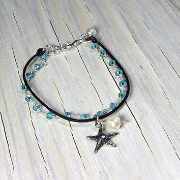 Starfish Charm Bracelet, Aquamarine, Beachy Jewelry, Pearls, Wire Wrapped Jewelry, Gifts for Her, Gifts under 40, Teens