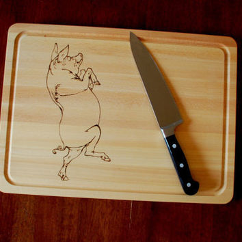 Laser Engraved Kitchen Cutting Board Pig by AFlutteredCollection