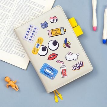 Fashion DIY Stickers Graffiti Notebook PU Leather Vintage Weekly Planner Schedule Daily Agenda Notes Stationery School Supplies