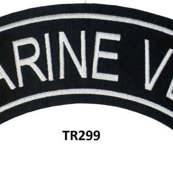 MARINE VET White on Black Top Rocker Patch for Motorcycle Jacket Vest