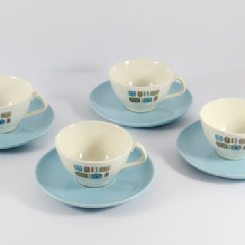 Vintage 1950s Temporama by Canonsburg Four Tea Cups and Four Saucers, Atomic Blue Green Tan,  Mid-Century Modern