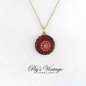 Sweet Vintage Dark Red Celluloid Carved Flower Pendant/Necklace, Unique Vintage Jewelry