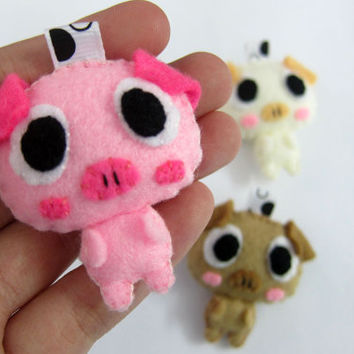 Cute Pig Keychain/Ornament, Magnet - Chloe, Piglet, Penny