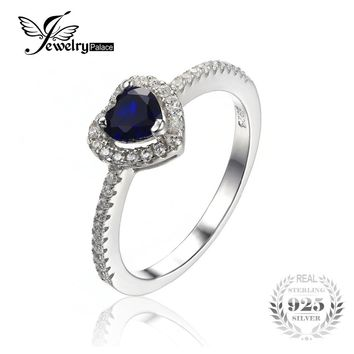 JewelryPalace Heart Of The Ocean 0.6ct Created Blue Sapphire 925 Sterling Silver Ring Fine Jewelry Gift  for Women