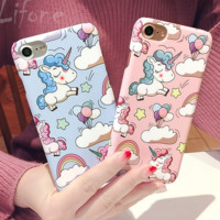 Cute Cartoon Unicorn PC Hard Case For iPhone X 8 8 Plus7 7 Plus 6 6s Plus Cover Case