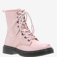 Pastel Pink Patent Leather Combat Boot