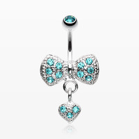 Dangle Heart Bow-Tie Belly Button Ring