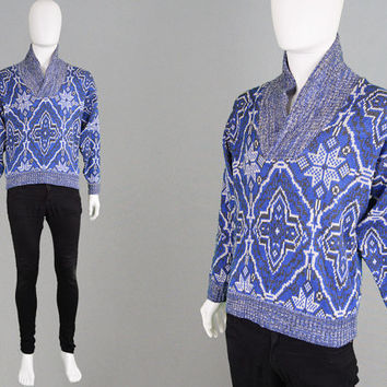 Vintage 70s GIVENCHY Monsieur Tribal Print Sweater Blue & White Marl Mens Jumper Icelandic Sweater Designer Knit Mens Knitwear Shawl Collar