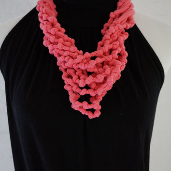 Knotted necklace, Tshirt Knotted Necklace, Scarf Necklace, Pink Necklace, Gift for her, Boho Necklace, Fiber Necklace, Statement Necklace
