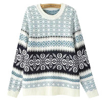 Geometric Print  Long Sleeves Jacquard Sweater