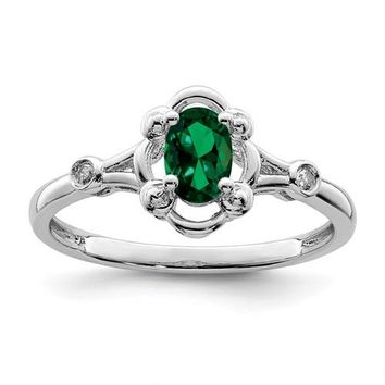 Sterling Silver Created Emerald Oval & Diamond Ring