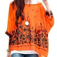 Allegra K Lady Batwing Sleeve Floral Prints Chiffon Oversize Shirt Orange S