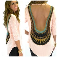Sun Flare Peach Open Crochet Back Top
