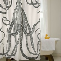 Black & White Octopus Shower Curtain 100-Percent Cotton 72 x 72-inch