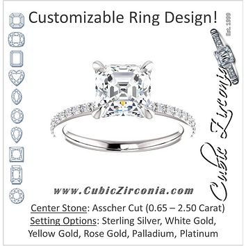 Cubic Zirconia Engagement Ring- The Geraldine Lea (Customizable Asscher Cut with Delicate Pavé Band)